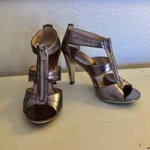 Micheal Kors Silver Berkeley Zip Heel